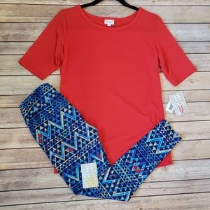 M Solid Red Gigi Top and OS Leggings.